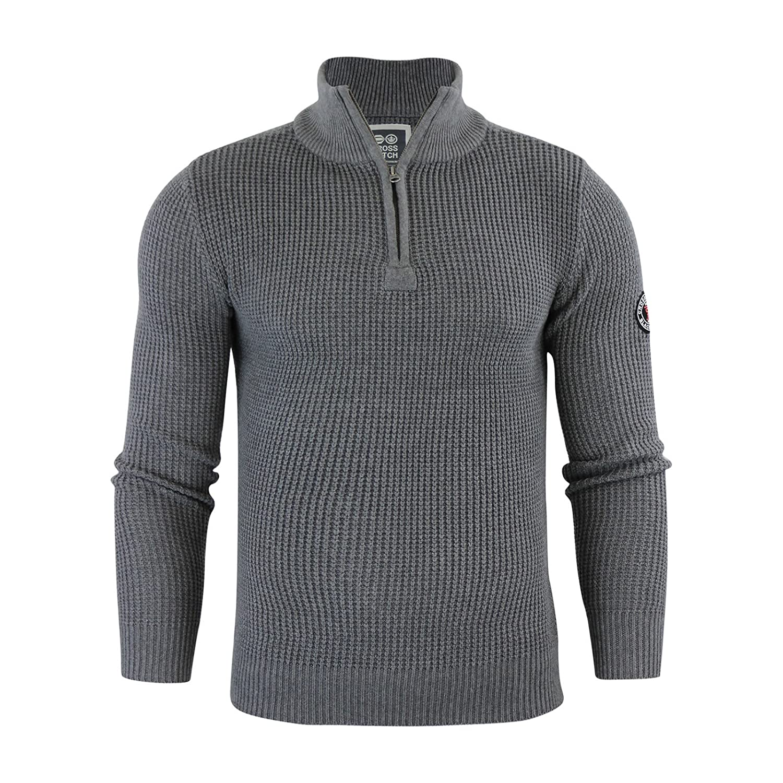 Mens Jumper Crosshatch Fireguard Waffle Knitted 1/4 Zip Up Funnel Neck Sweater
