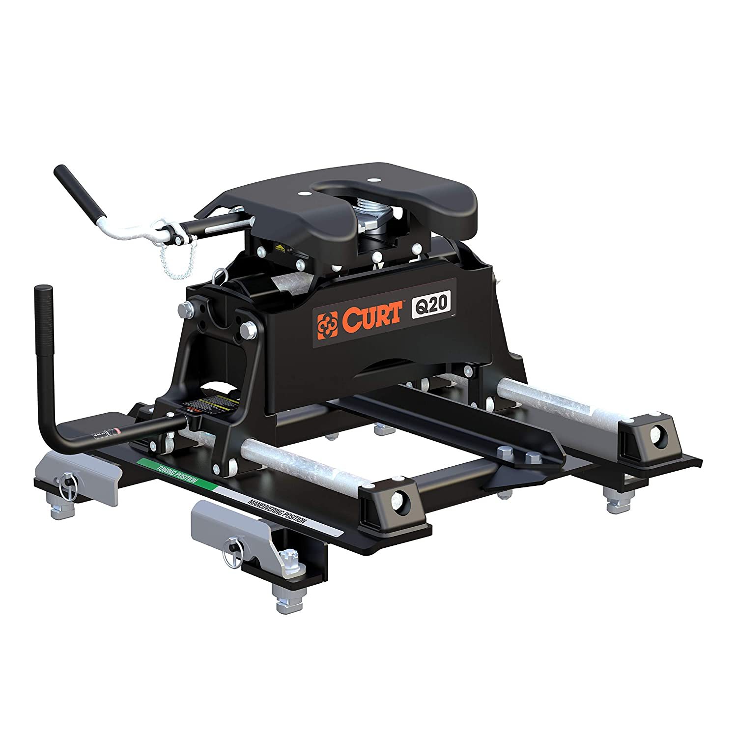 CURT 16671 Q20 5th Wheel Hitch with Roller and GM Puck System Adapter for Short Bed Trucks 20,000 lbs GTW