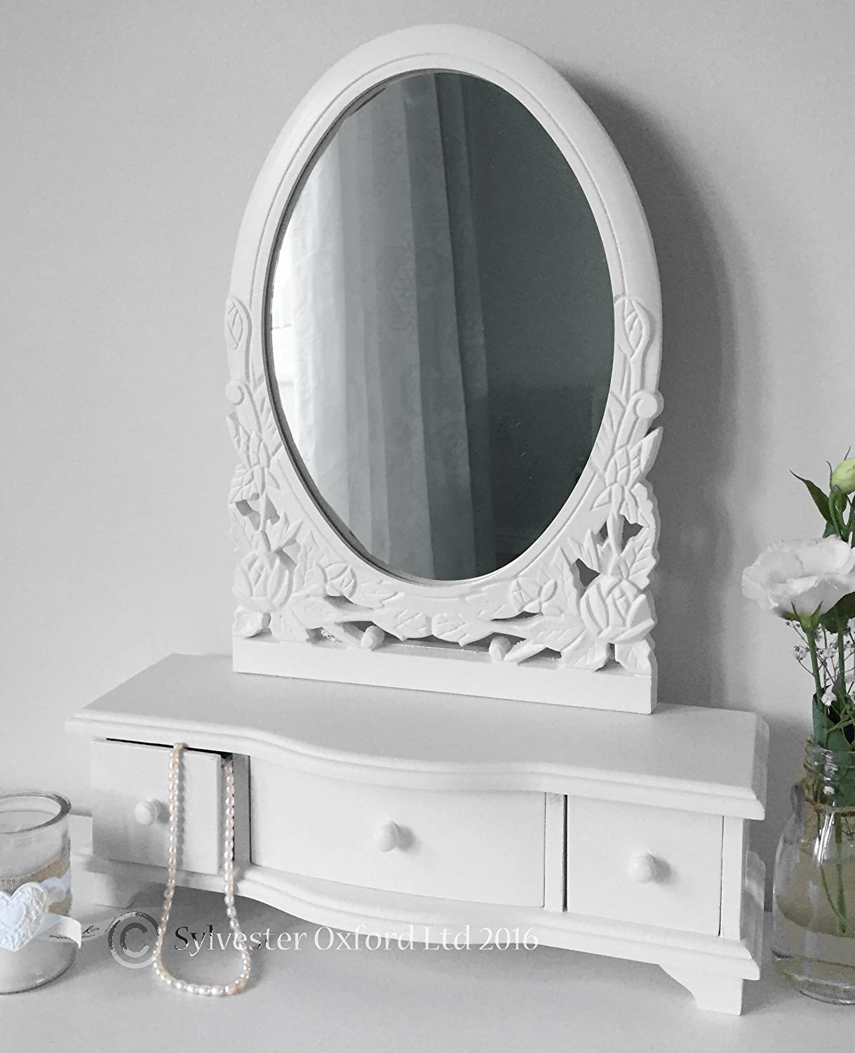 White Dressing Table Mirror with Drawers Amazon Kitchen & Home