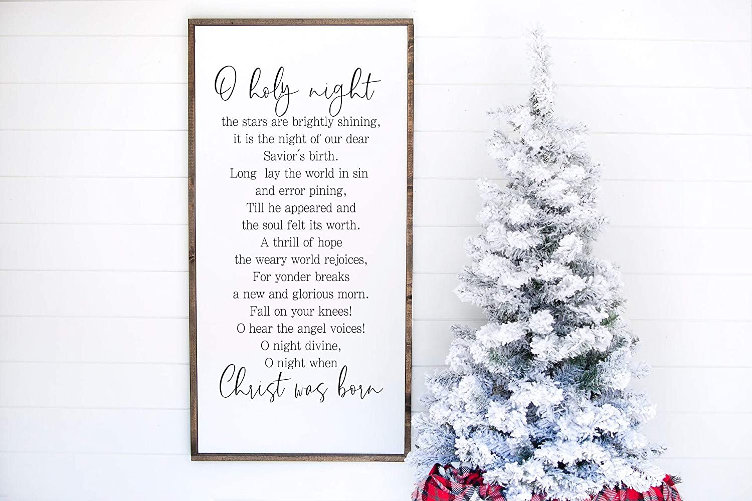 VinMea Framed Wood Sign,Oh Holy Night Wall Art Wooden Wall Hanging Art,Inspirational Farmhouse Wall Plaque,Decor Gallery 30x45cm