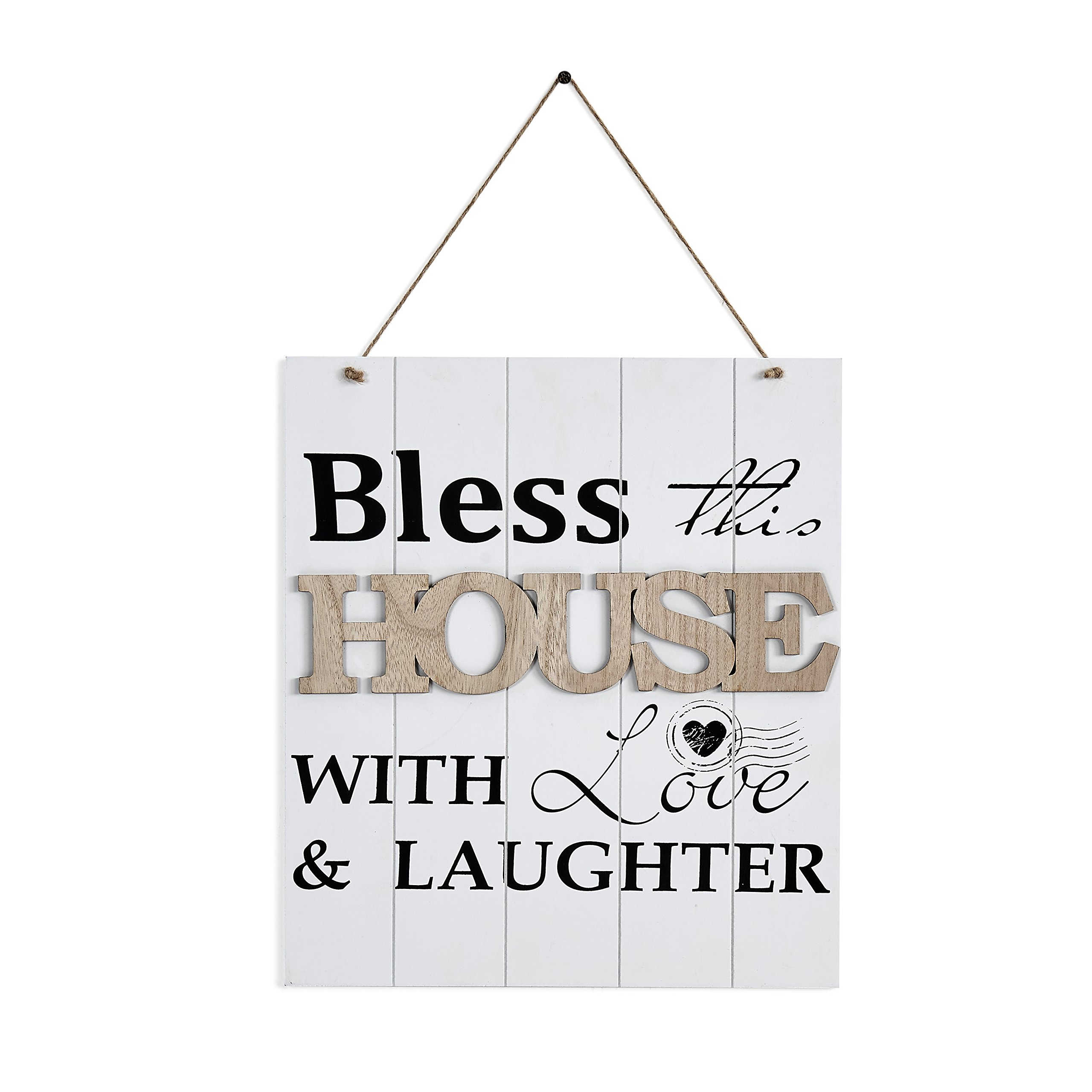 Danya B. B0742MKZCK Inspirational Quotes Wall Decor - Bless This House with Love & Laughter - Wooden Plaque