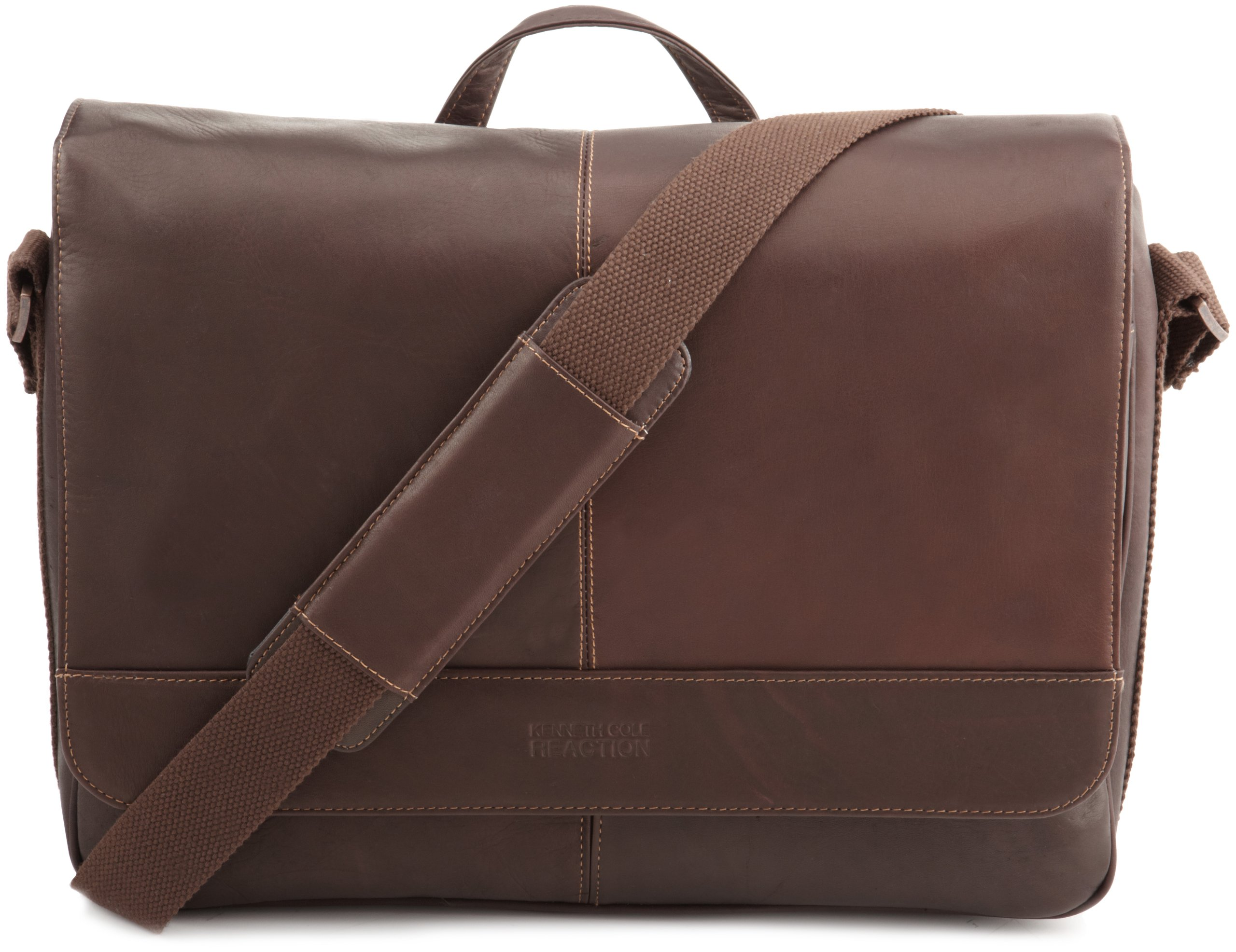 Kenneth Cole Reaction ''Risky Business'' Colombian Leather Flapover Cross Body Messenger Bag, Brown, One Size
