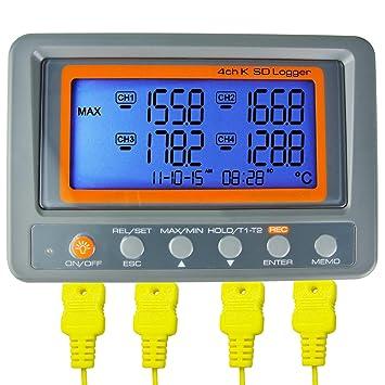 Az instrumentos 4 canal K Tipo termómetro registrador de datos de tarjetas SD termopar temperatura por