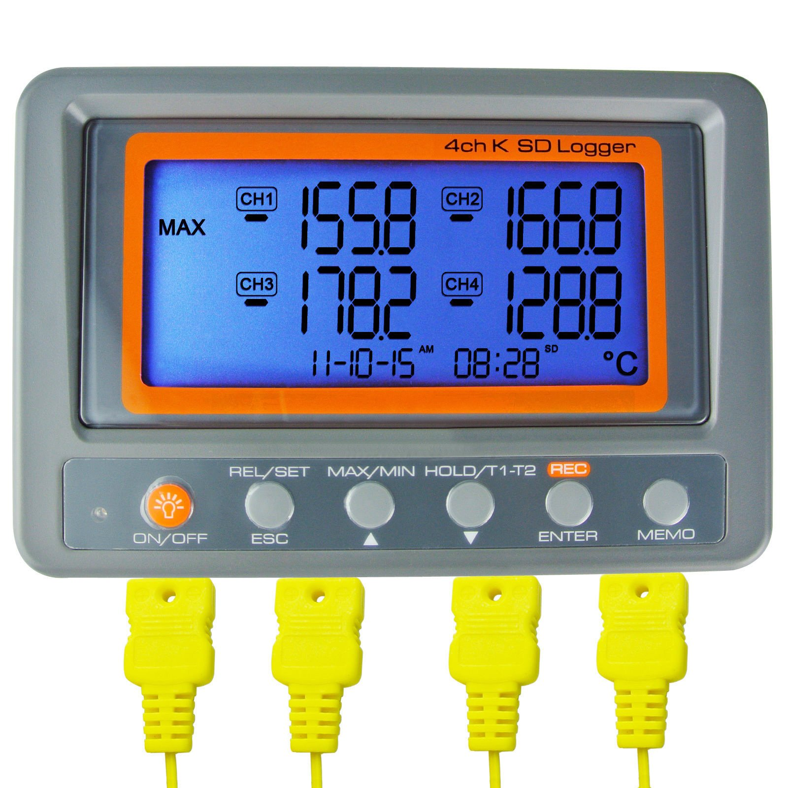 AZ Instruments 4 Channel K Type Thermometer SD Card Data Logger Thermocouple Temperature + 2 Bead Type K-Thermocouple Probe