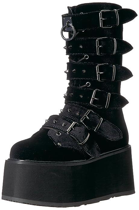 Black Demonia Womens Damned-225 Mid Calf Boot