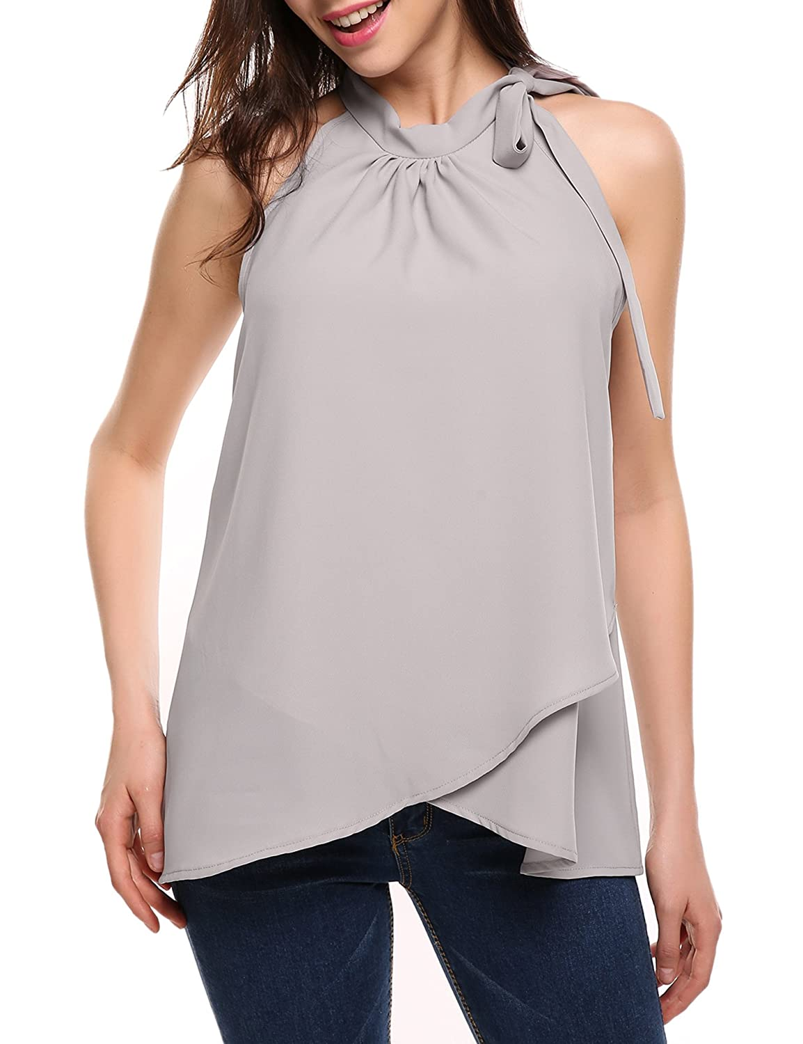 ac5dafe0fd6407 ACEVOG Womens Casual Pleated Sleeveless Chiffon Layered Halter Neck Office Ladies  Shirt Blouse Tops at Amazon Women s Clothing store