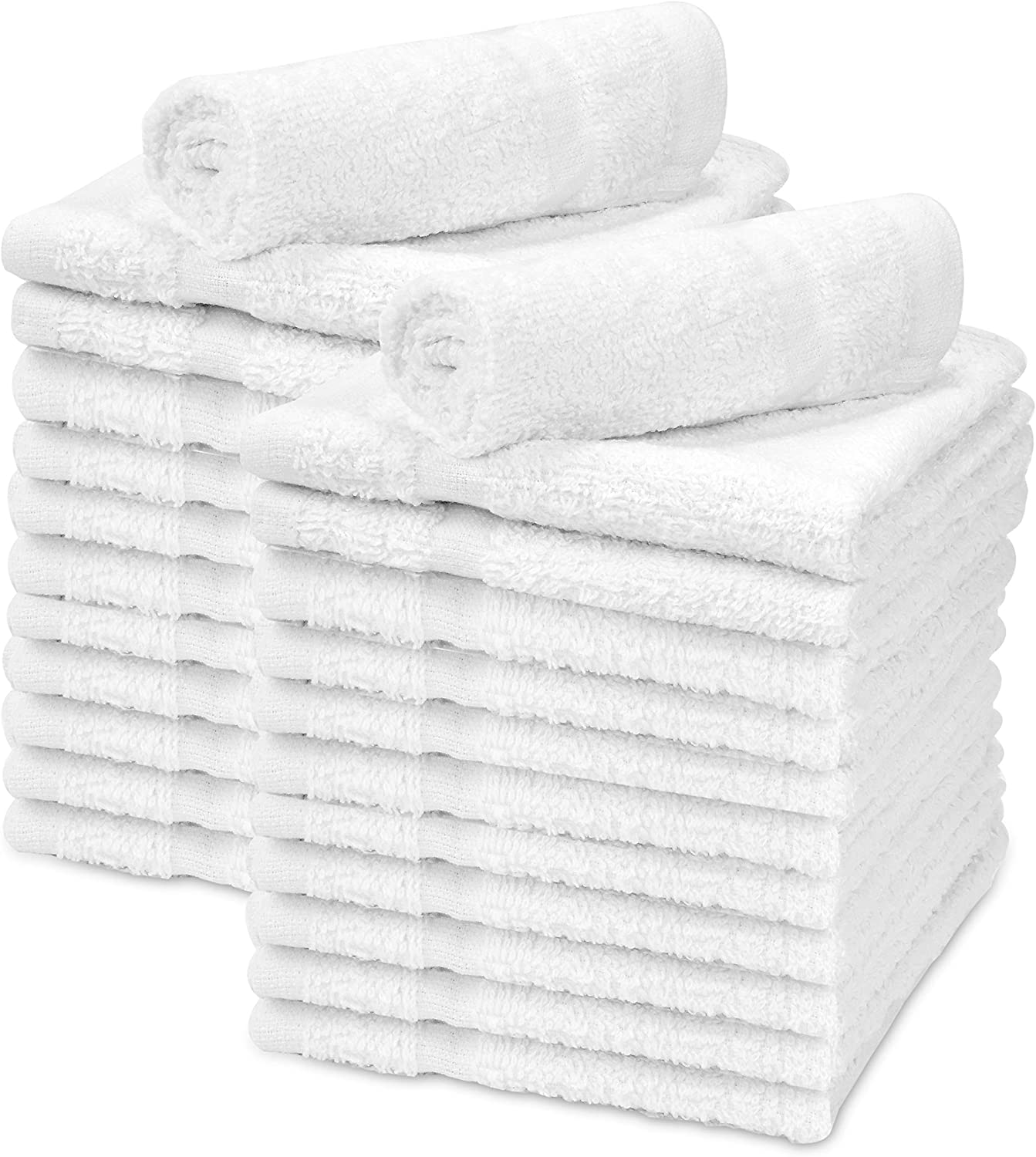 """Talvania Washcloths Towels 24 Pack Super Absorbent Terry Towel 100% Ring Spun Cotton White Wash Cloth with Border Design Ideal for Face Wash Long Lasting Multi-Purpose Gym Spa Home Bath Towel 12""""X12"""": Home & Kitchen"""