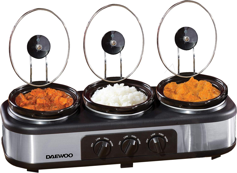 Daewoo sda1334 3 x 1.5L Triple olla de cocción lenta | 3 macetas ...