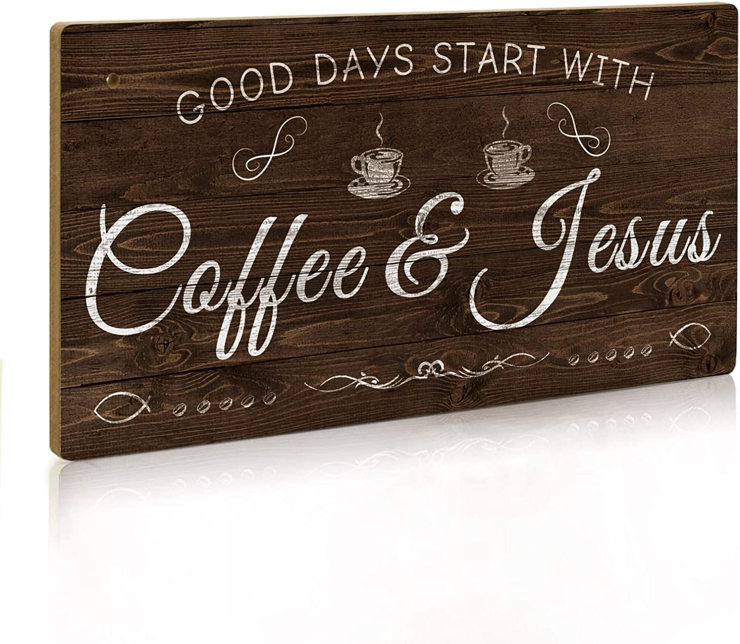 Putuo Decor Coffee Sign, Kitchen Coffee Bar Decor, 12 x 6 Hanging Plaque, Gifts for Coffee Lover (Good Days Start with Coffee & Jesus)