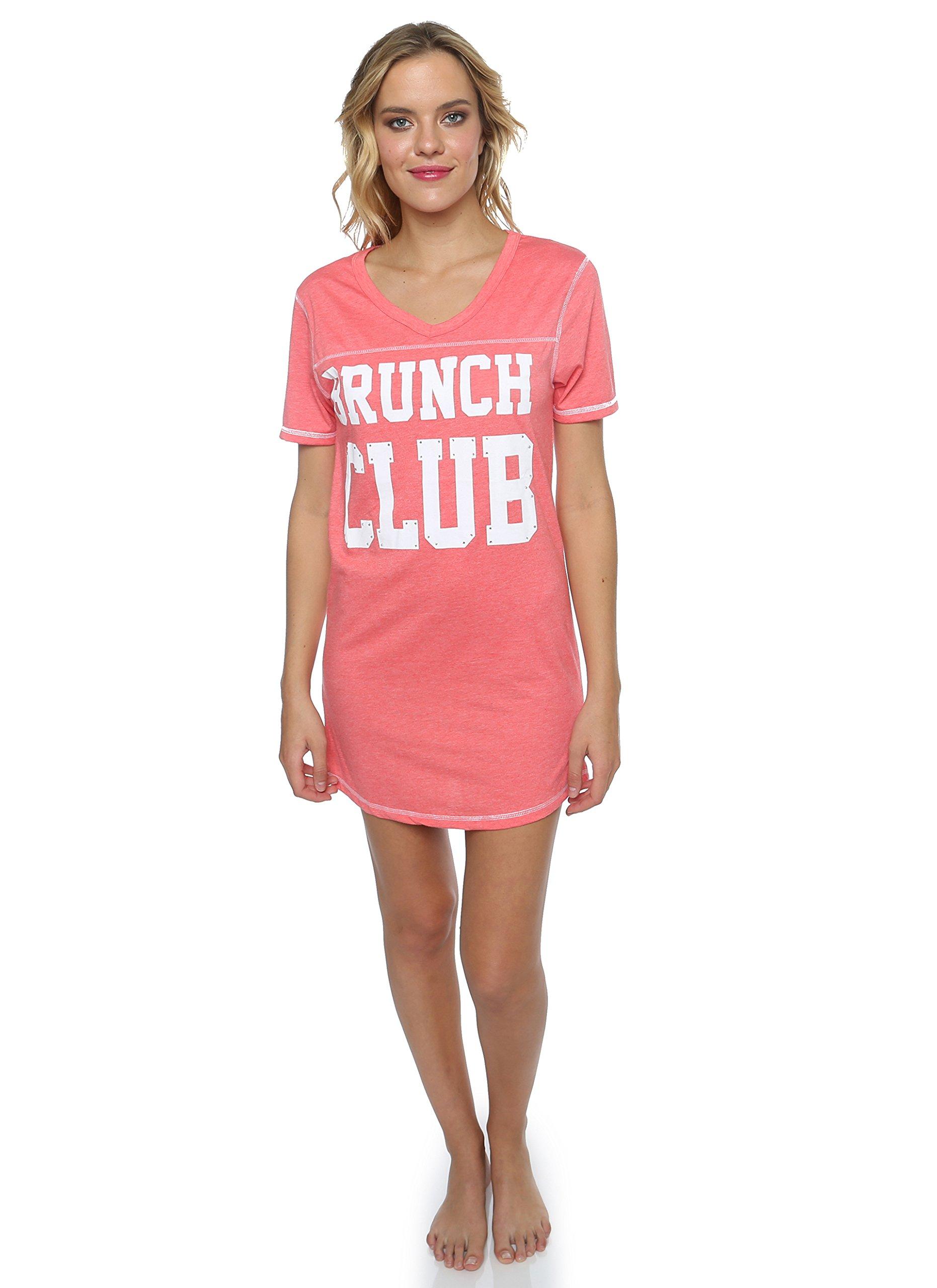 Sleep & Co. Womens Printed Logo Brunch Club V-Neck Sleepshirt Coral Heather Medium