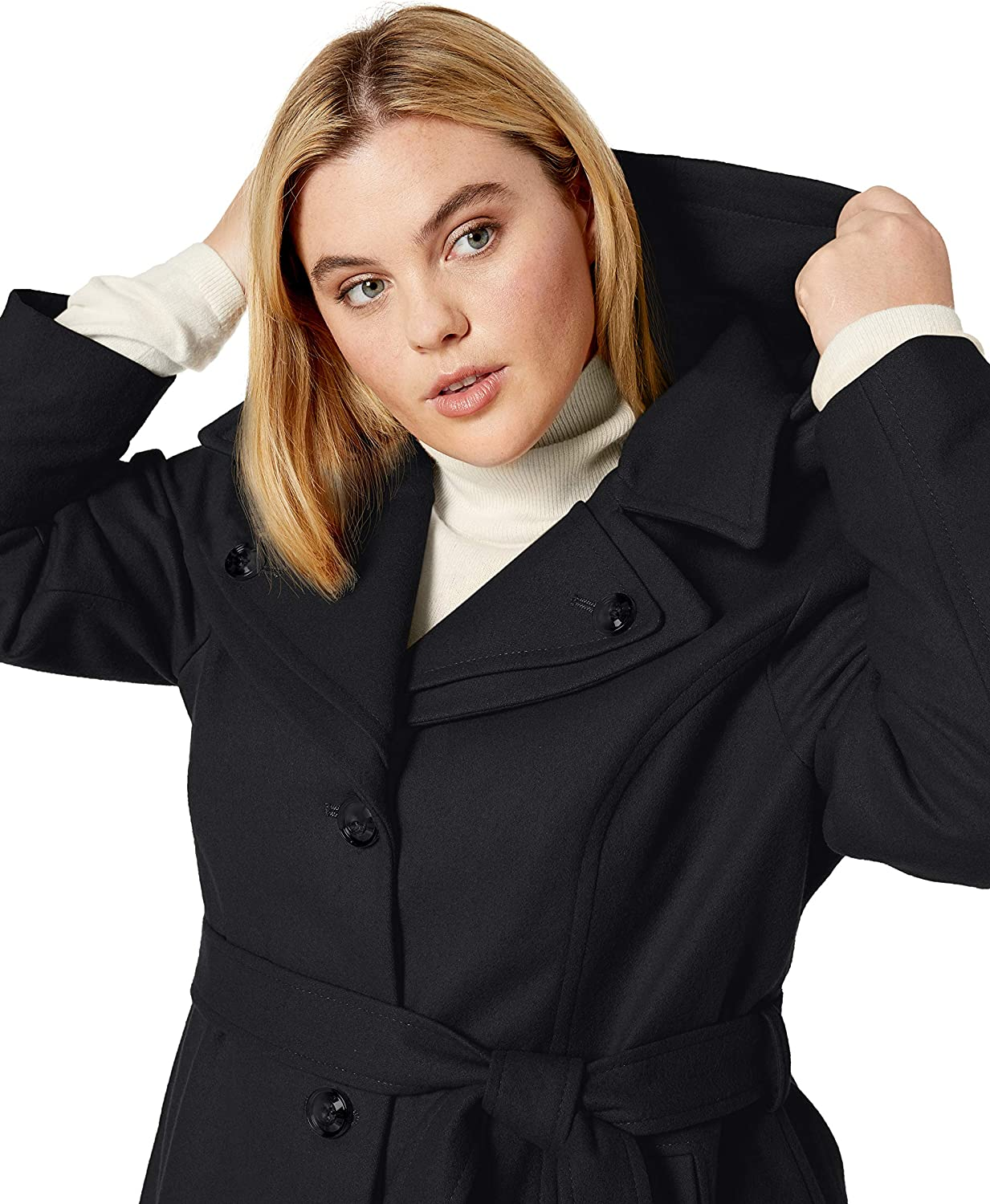 LONDON FOG Womens Double Lapel Thigh Length Button Front Wool Coat with Belt