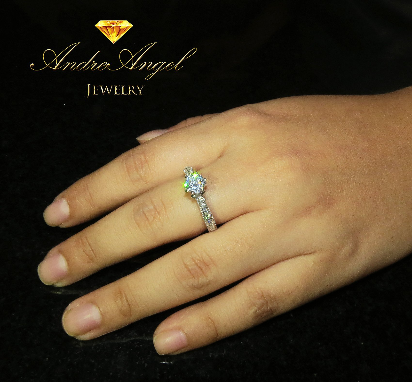 AndreAngel Women Ring White Gold 18K Princess Cut/Lab Diamond 6 mm Carat Cubic Zirconia AAA+/Bridal Birthday Dating Gift Anniversary Promise Engagement or Wedding Mother's Day (7) by AndreAngel (Image #4)