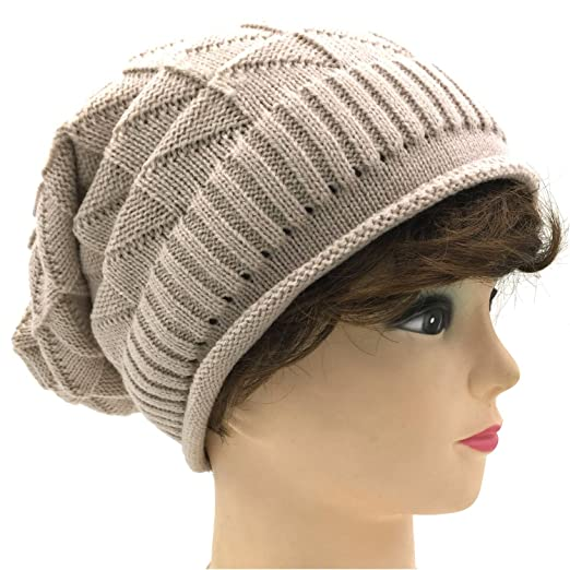Tapp C Triangle Pattern Slouchy Beanie Hat Almond At Amazon