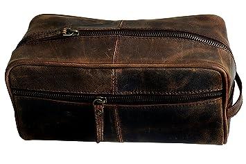 5ea71a691311 Amazon.com : Handmade Buffalo Genuine Leather Toiletry Bag Dopp Kit ...