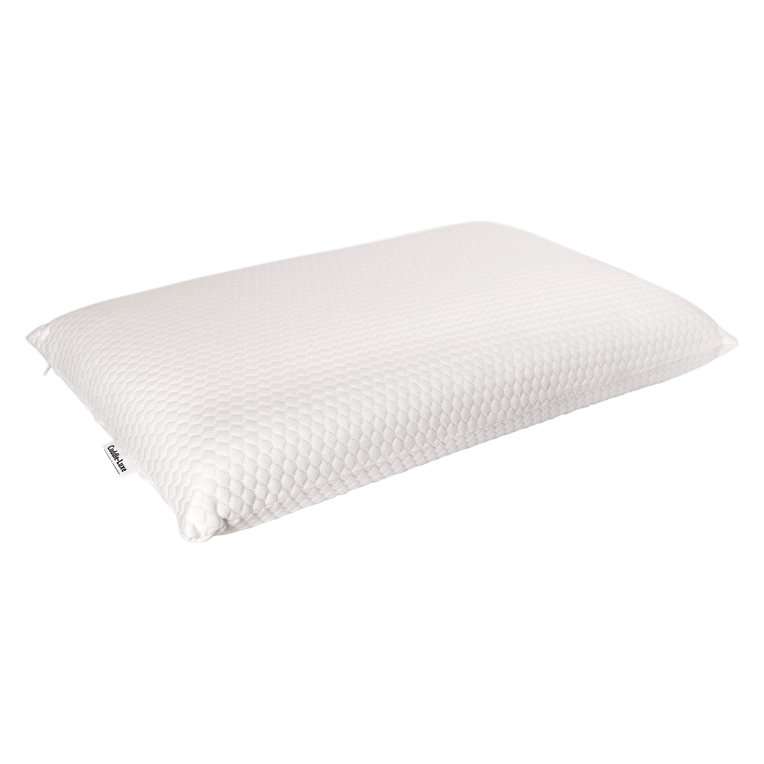 Cuddle-Luxe Premium Gel Infused Memory Foam Thin Pillow Thin and Flat Therapeutic Design for Spinal Alignment, Better Breathing and Enhanced Sleeping with Cotton Cover (King) by Cuddle-Luxe