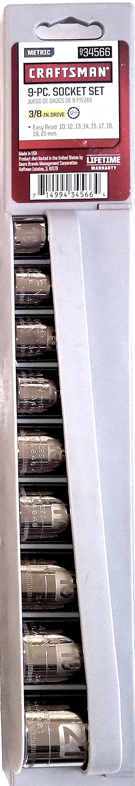 Craftsman 9pc Metric MM 3/8'' Drive, 12 point socket set Easy to Read Laser Etched, Made in USA 9-34566