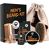MayBeau Beard Grooming & Trimming Kit for Men-Beard Care Gift Sets 7pcs includes Unscented Beard Balm(60g)+30ml Beard Oil+Wooden Two-Sided Beard Comb+Mustache Scissors+Beard Brush+Shape Tool+Canvas Bag