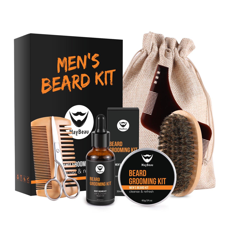 Beard Balm Kit MayBeau Beard Grooming & Trimming Kit for Men-Contains Unscented Beard Balm(60g) +30ml Beard Oil+ Wooden Two-Sided Beard Comb + Mustache Scissors + Beard Brush + Shape Tool + Canvas Bag Perfect Present for Dad Husband
