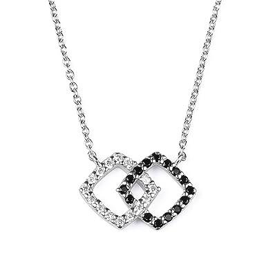 42cbd136a4beb blackbox Jewelry Sterling Silver White Cubic Zirconia Black Nano Stone  Double Interlocking Diamond Shape 18