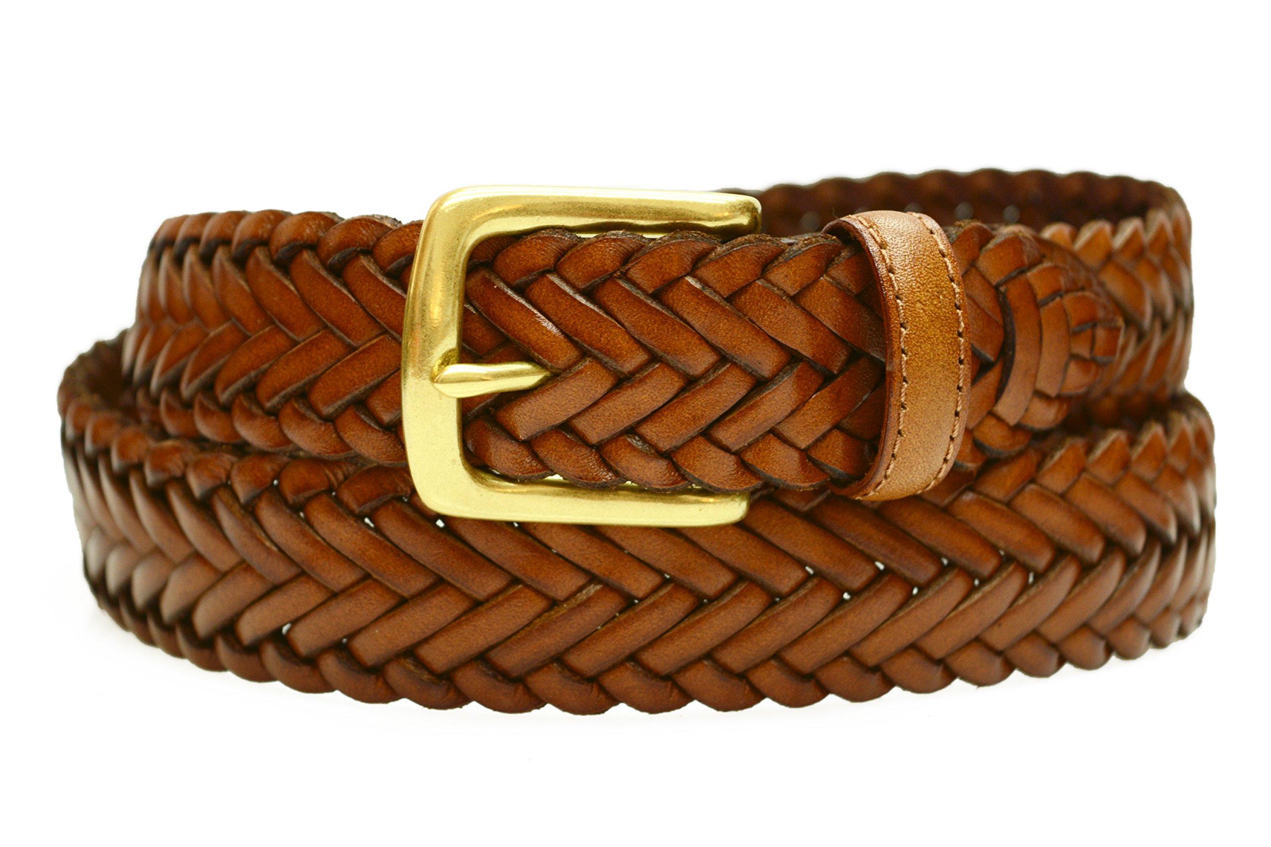 796-TAN - Toneka Men's Woven Tan Caramel Full grain Braided Leather Dress Belt (34)