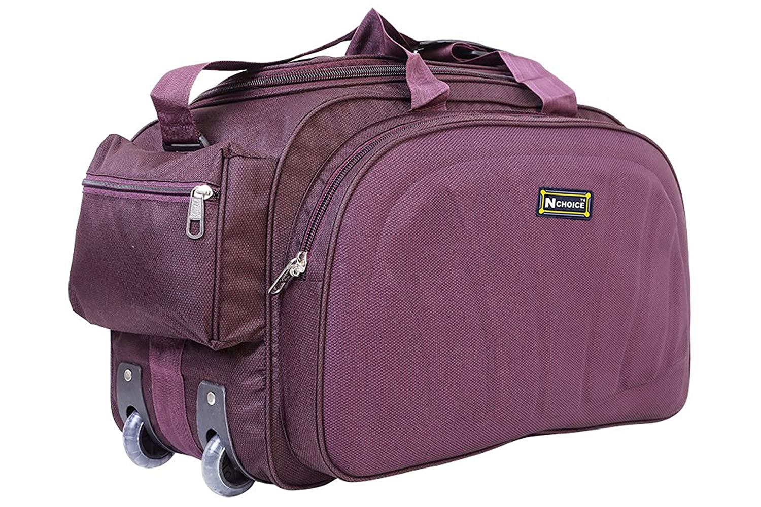 N Choice Unisex Polyester Purple 40 L Waterproof Lightweight Duffle Bag with 2 Wheels