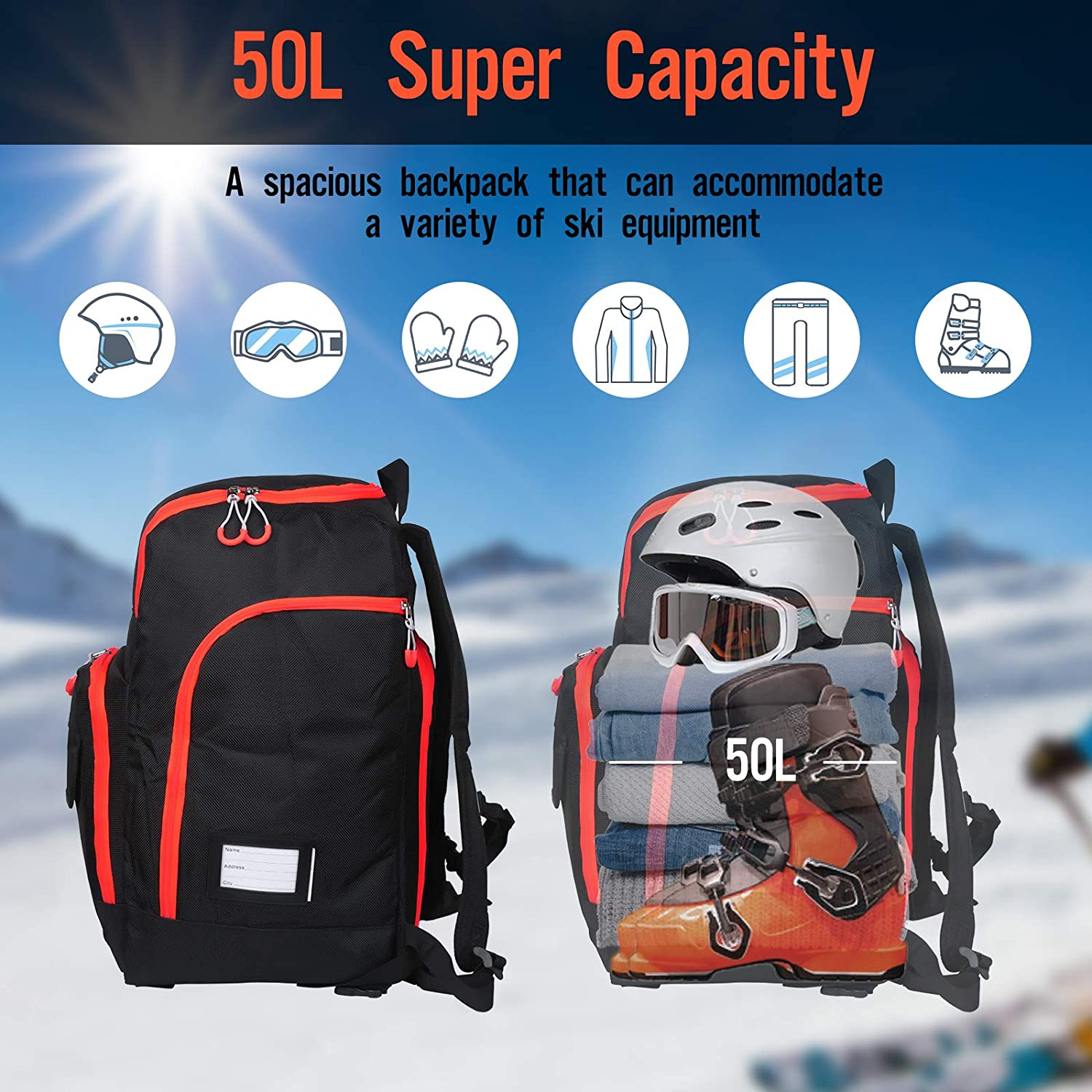 Ski and Snowboard Boots Waterproof Travel Luggage 50L Ski Boot Travel Backpack Gloves /& Accessories Zacro Ski Boot Bag Stores Gear Including Ski Helmet Goggles