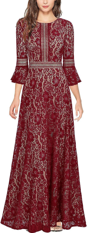 Miusol Vintage Encaje Slim C/óctel Vestido Largo para Mujer