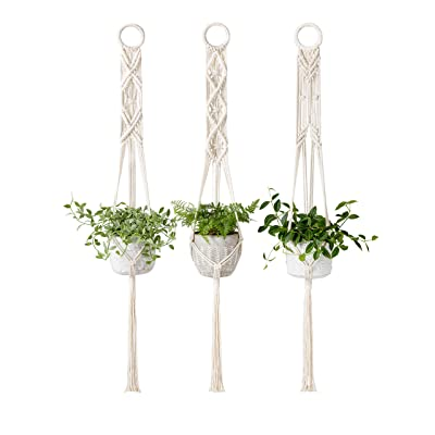 Mkono Macrame Plant Hangers Set of 3 Indoor Wall Hanging Planter Basket Flower Pot Holder Boho Home Decor, 39 Inch: Garden & Outdoor