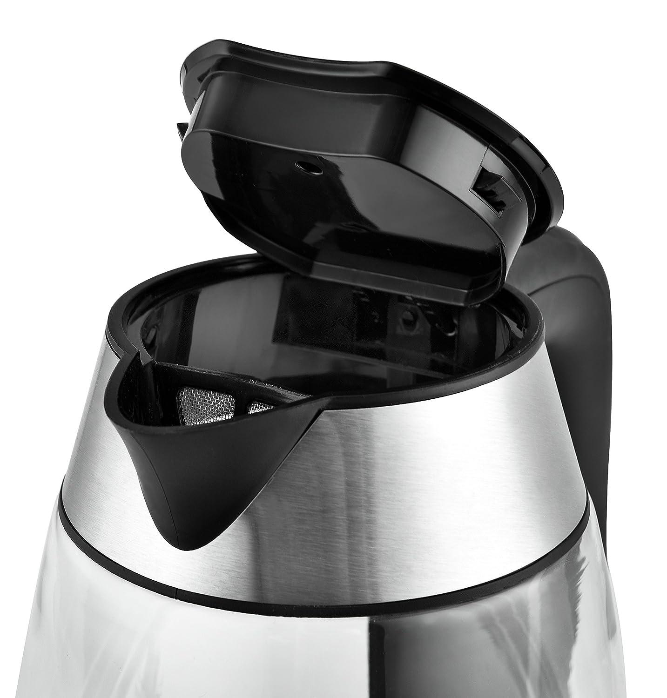 40-100/°C Eclairage Int/érieur LED Argent/é//Noir Team Kalorik Bouilloire /Électrique sans Fil 1.7 Litre en Verre//Inox Filtre /à Particules TKG JK 1040 2200 W