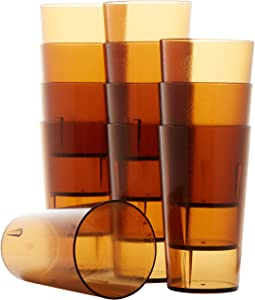 Restaurant Grade, BPA Free 12oz Dishwasher Safe, Break Resistant Drinking Glasses Are Reusable, Stackable Shatterproof Tumblers. Great Drink Cups for Cafe and Catering Supplies (Amber, 12)