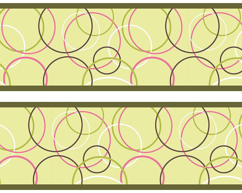 Kleisterbordü re 'Muster', 4-teilig 520x15cm, Tapetenbordü re, Wandbordü re, Borte, Wanddeko,Kreis, Gelb wandmotiv24