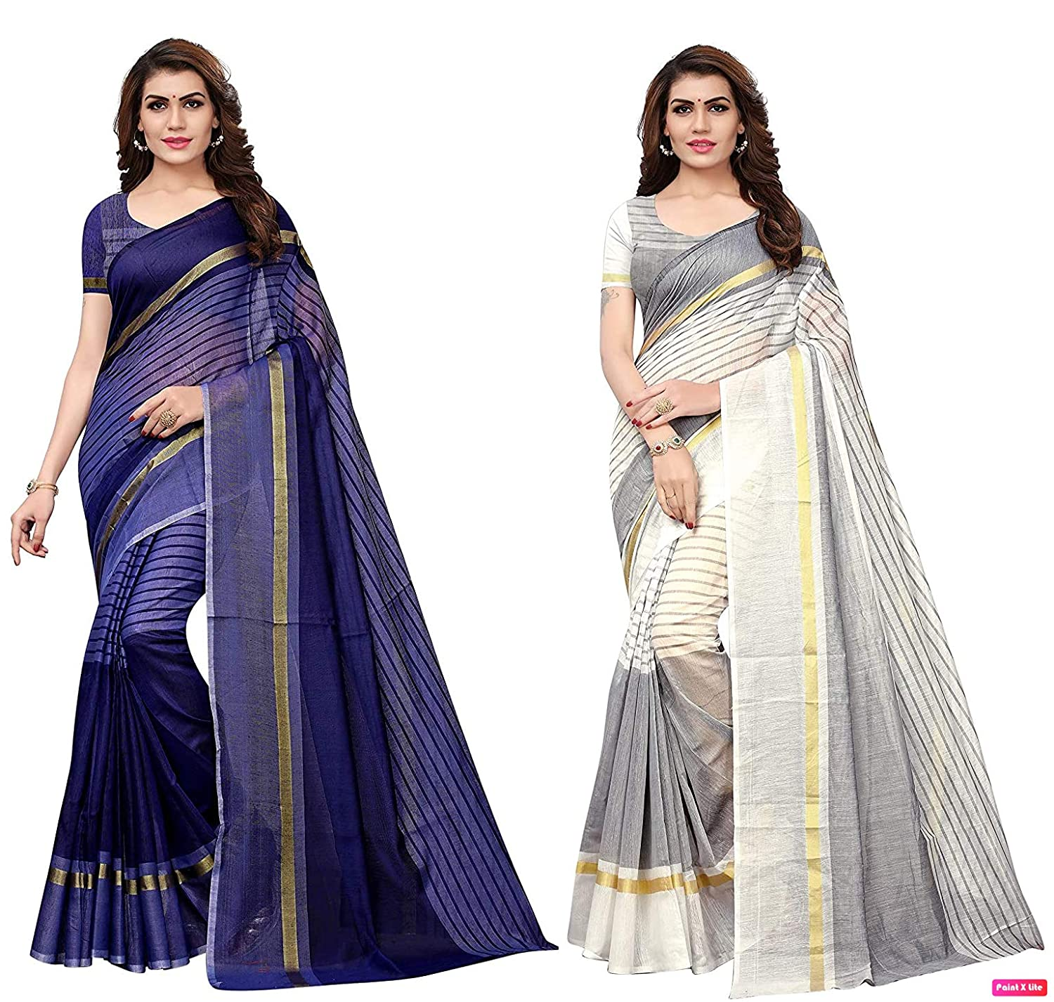 Anni Designer Cotton Saree With Blouse Piece (Pack Of 2)