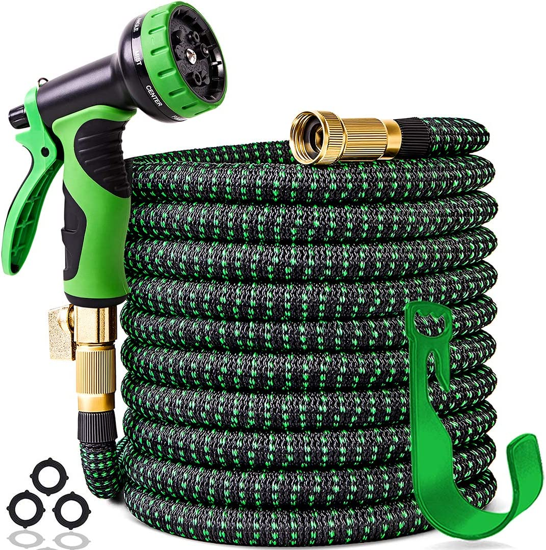"100 ft Expandable Garden Hose,Upgraded Leakproof Lightweight Garden Water Hose with 3/4"" Solid Brass Fittings,Extra Strength 3750D Durable Gardening Flexible Hose,Expanding Garden Hoses Spray Nozzle"