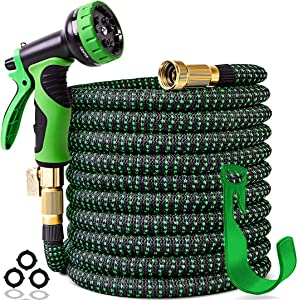 """100 ft Expandable Garden Hose,Upgraded Leakproof Lightweight Garden Water Hose with 3/4"""" Solid Brass Fittings,Extra Strength 3750D Durable Gardening Flexible Hose,Expanding Garden Hoses Spray Nozzle"""