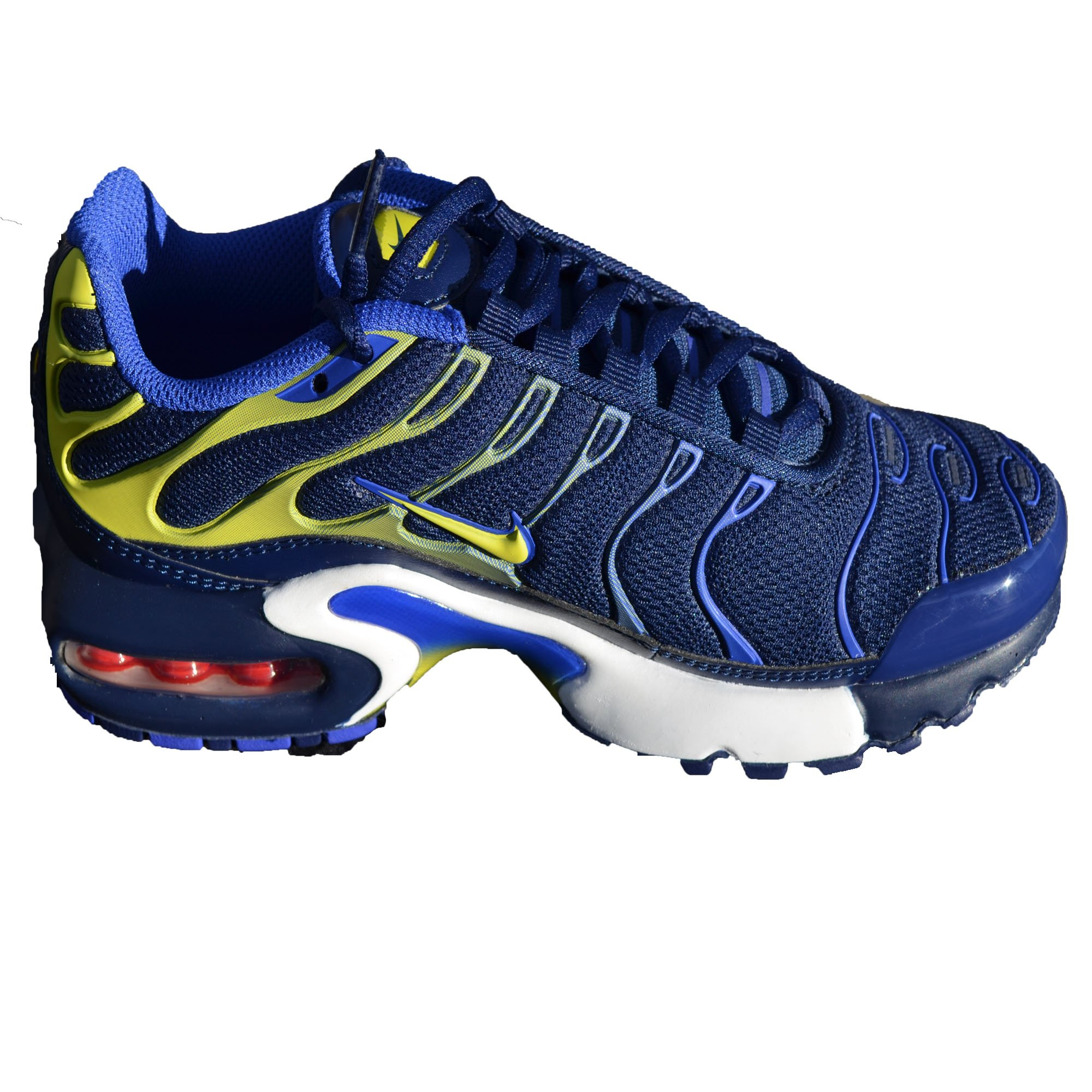 Nike Kids Air Max Plus (GS) Binary Blue Electric Lime Sneakers (4 M US Big Kid) by NIKE