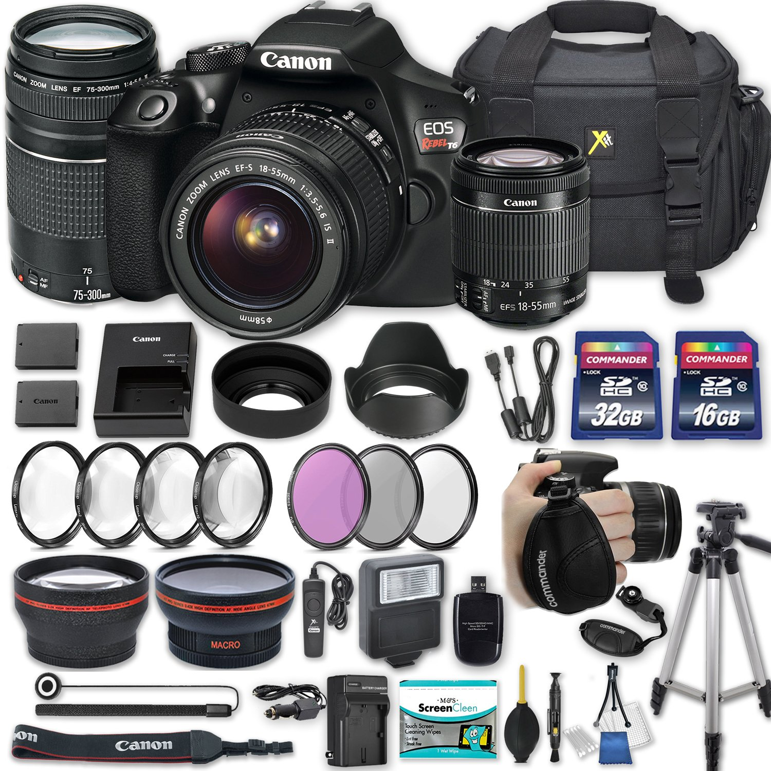 Canon EOS Rebel T6 DSLR Camera with EF-S 18-55mm f/3.5-5.6 IS II Lens + EF 75-300mm f/4-5.6 III + 2 Memory Cards + 2 Aux Lenses + 50'' Tripod + Accessories Bundle (25 Items) by Canon