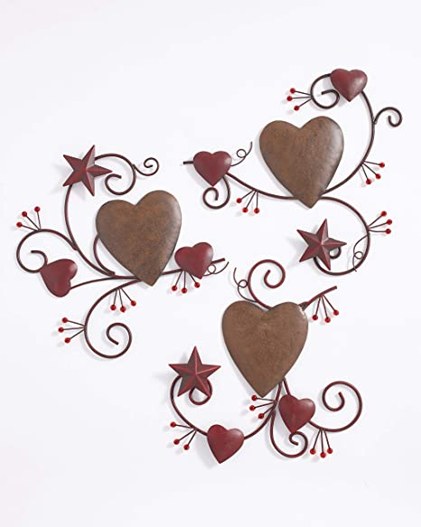 Amazon Com The Lakeside Collection 3 Pc Hearts And Stars Wall Art Decoration With Distressed Metal Finish Home Kitchen