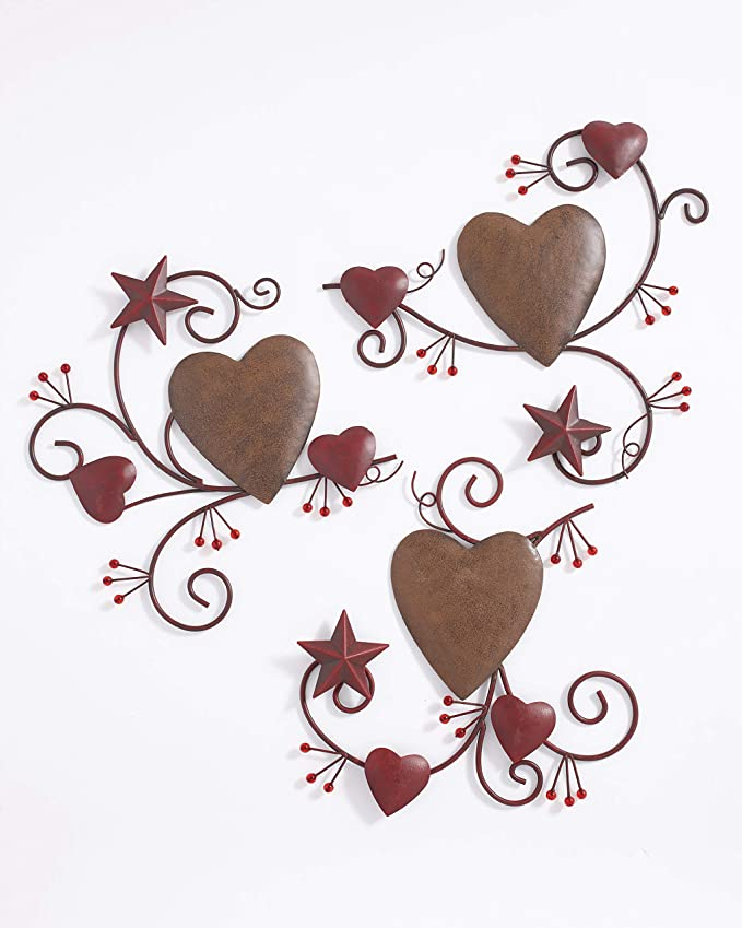 The Lakeside Collection 3 Pc Hearts And Stars Wall Art Decoration With Distressed Metal Finish Home Kitchen Amazon Com