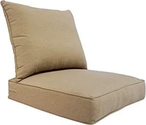 BOSSIMA Outdoor Patio Cushions Deep Seat Chair Cushions Sunbrella Furniture Cushions Camel, Canvas Heather Beige