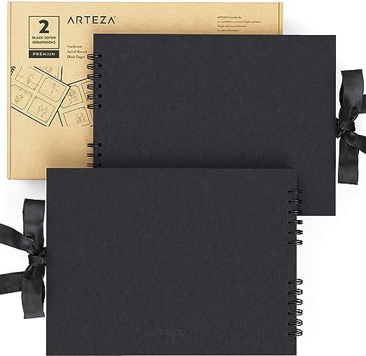 Arteza Álbumes de fotos y recortes   21,6 x 28 cm   Pack de 2   40 hojas x álbum   Color negro   Encuadernación en espiral   Grosor 250 gsm   para crear álbumes de fotos y recuerdos: Amazon.es: Hogar
