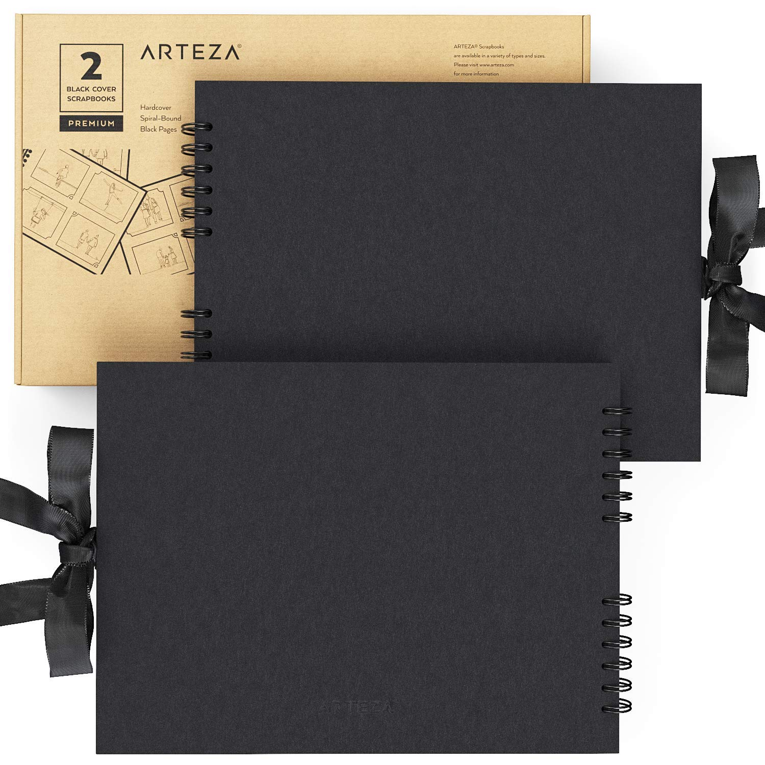 Arteza 8.5x11'' Scrapbook Album Pack of 2, Black Cover, 40 Black Sheets, Spiral Bound, 250 GSM for DIY, Anniversary, Wedding Guest Book, Travelling, Artwork, Birthday, Holiday Gift