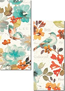 Beautiful Teal and Orange Watercolor-Style Floral, Butterfly and Bird Panel Set by Pela; Two 8x18in Paper Poster Prints
