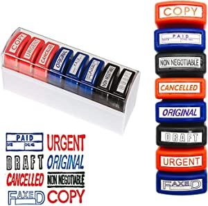 Self Inking Pre-Inked Office Stamp Set, 8 Message Account Stamp Office Stationary Stamper Business Paper Work Text File Stamps w/Tray Red\Blue\Black Ink