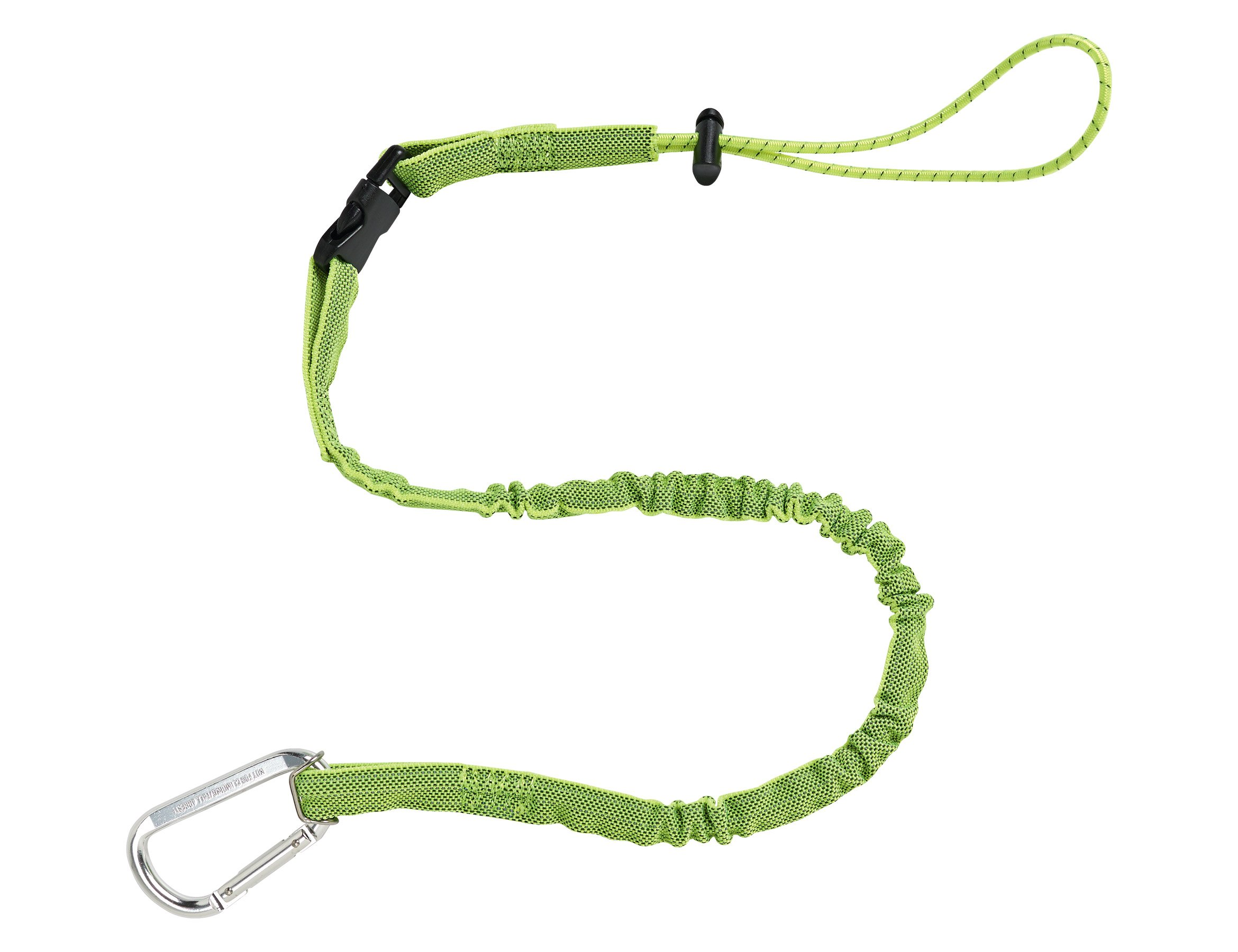 Ergodyne Squids 3102 Tool Lanyard with Single Carabiner and Detachable Adjustable Loop End, Standard Length, Lime, 5 Pounds