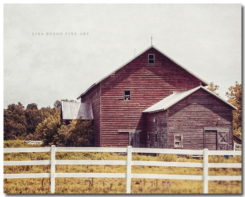 Rustic Farmhouse Landscape Print of Antique Red Barn