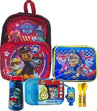 Paw Patrol - Mochila con fiambrera de Paw Patrol incluye 3 un kit de almuerzo contenedor, botella de agua, utensilios y bono Handy Minion Sanitizer: ...