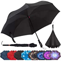 Repel Reverse Folding Inverted Umbrella with 2 Layered Teflon Canopy and Reinforced Fiberglass Ribs (Black)