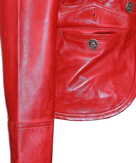 Scarlett Rojo De Mujer Corto Auténtico Lavado Cuero Piel Cordero Chaqueta  Militar  Amazon.es  Ropa y accesorios 18161fc428fd