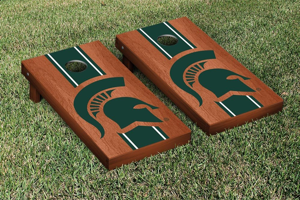 Michigan State Spartans Regulation Cornhole Game Set Rosewood Stained Stripe Version by Victory Tailgate
