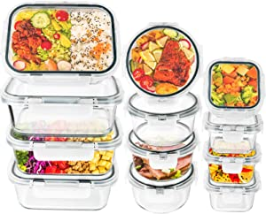 24 Piece Glass Food Storage Containers with Lids - 100% Leakproof, Airtight Glass Meal Prep Containers For Leftover, Great On-The-Go, Lunch Food Containers, Dishwasher/Microwave/Freezer Safe